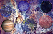 Planet Earth Art - Nebula with Planets by J D Owen