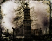 Halloween Digital Art - Necropolis Gate and Crow by Gothicolors And Crows