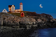 Maine Shore Prints - Neddick Lighthouse Print by Susan Candelario