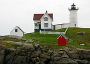 Nubble Lighthouse Pyrography Framed Prints - Neddick Lighthouse Framed Print by Vickie Fears