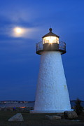 New England Lighthouse Prints - Neds Point Lighthouse Moon Mattapoisett Massachusetts Print by John Burk