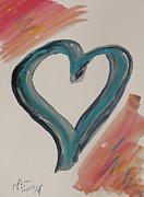 Primitive Drawings - Need for a Blue Heart by Mary Carol Williams