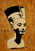 Pharaoh Painting Prints - Nefertiti Egyptian Queen original coffee painting Print by Georgeta  Blanaru