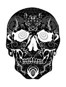 Scull Framed Prints Prints - Negative Scull Print by Mauro Celotti