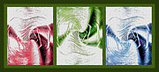 Twisting Mixed Media Prints - Negative Space Triptych - Inverted Print by Steve Ohlsen