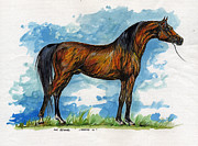 Horse Drawing Painting Prints - Negatraz Print by Angel  Tarantella