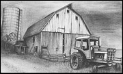 Barn Drawing Drawings - Neglected Barn by Jimmy Wood