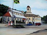 Vehicles Painting Framed Prints - Negril City Hall  Framed Print by Kenneth Harris