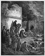 Orthodox Drawings Prints - Nehemiah views the ruins of Jerusalem walls Print by Oprea Nicolae