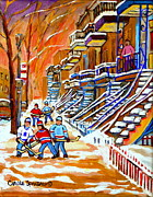 Whimsical Hockey Art Framed Prints - Neighborhood Street Hockey Game Last Call Time For Dinner  Montreal Winter Scene Art Carole Spandau Framed Print by Carole Spandau