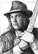 Canada Drawings Prints - Neil Young art drawing sketch portrait Print by Kim Wang