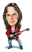 Famous Person Painting Framed Prints - Neil Young Framed Print by Art