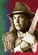Featured Mixed Media - Neil Young - stylised pop art drawing portrait poster  by Kim Wang