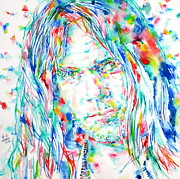 Neil Young Metal Prints - NEIL YOUNG - watercolor portrait Metal Print by Fabrizio Cassetta