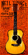 Neil Young Painting Posters - Neil Youngs Hank Martin Guitar Poster by Karl Haglund