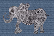The Love Bug Posters - Nelly the Elephant Denim Poster by Karen Larter