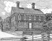 Revolution Drawings Prints - Nelson House in Yorktown Virginia 1 of 3 Print by Stephany Elsworth