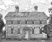 Independence Drawings Prints - Nelson House in Yorktown Virginia II of III Print by Stephany Elsworth