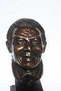 Icon Sculpture Metal Prints - Nelson Mandela - min bust Metal Print by Greg Norman