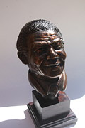 African  Sculpture Posters - Nelson Mandela - mini bust Poster by Greg Norman