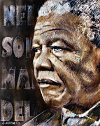Prisoner Drawings Posters - Nelson Mandela anti-apartheid icon drawing  Poster by Daliana Pacuraru