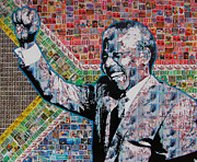 South African Mixed Media Prints - Nelson Mandela Print by Gary Hogben