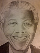 Leaders Drawings Prints - Nelson Mandela Print by Irving Starr