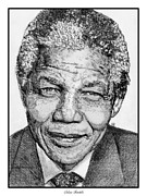 Grey Drawings Framed Prints - Nelson Mandela Framed Print by J McCombie