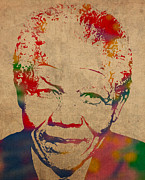 Africa Mixed Media Prints - Nelson Mandela Watercolor Portrait on Worn Distressed Canvas Print by Design Turnpike