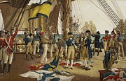 Napoleonic Wars Framed Prints - Nelsons Last Signal at Trafalgar Framed Print by English School
