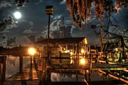 Shrimp Boat Prints - Nelsons Marina with Super Moon Print by Michael Thomas
