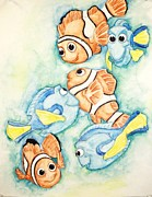 Clown Fish Mixed Media - Nemo and Dory by Katie Essman