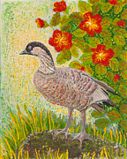 Wildlife Glass Art Metal Prints - Nene Metal Print by Anna Skaradzinska