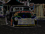 Deuce Coupe Framed Prints - Neon 1948 Chevy Pickup Framed Print by Steve McKinzie