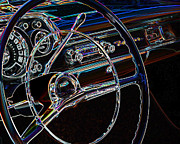 1957 Ford Custom Prints - Neon 1957 Chevy Dash Print by Steve McKinzie