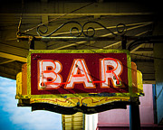 Brick Buildings Art - Neon Bar by Perry Webster