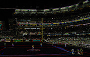 Stadium Design Digital Art Prints - Neon Baseball Stadium Print by Chris Thomas
