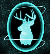 Hunt Mixed Media Metal Prints - Neon Buck Metal Print by Shane Bechler