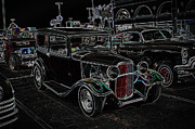 Deuce Coupe Framed Prints - Neon Car Show Framed Print by Steve McKinzie
