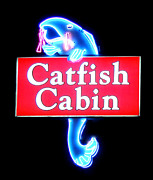 Southern Cooking At Restaurant Posters - Neon Catfish Cabin  Poster by Mark Moore