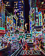 Gotham City Digital Art - Neon City by Adrian Ciccone