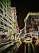 Crosswalk Photos - Neon City Night by Eddie G