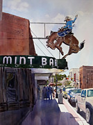 Wyoming Paintings - Neon Cowboy by Kris Parins