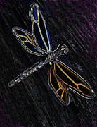 Brenda Brown Digital Art - Neon Dragonfly by Brenda Brown