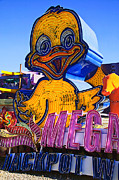Old Signage Prints - Neon duck Print by Garry Gay