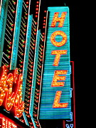 Electric Signs Posters - Neon Hotel Poster by Randall Weidner