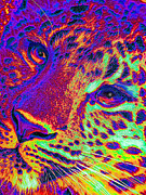 Leopards Digital Art Acrylic Prints - Neon Leopard Acrylic Print by Jane Schnetlage