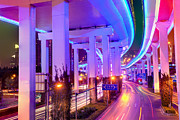 Pudong Prints - Neon lighted elevated highway Print by Fototrav Print