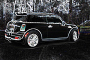 Mini Cooper Digital Art Posters - Neon Mini Cooper Sport Poster by Kathy Sampson