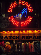 Shoe Repair Posters - Neon of New York - Shoe Repair Shoe Shine Poster by Miriam Danar